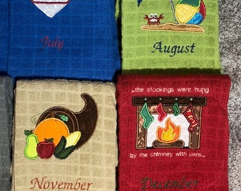 12 (individual) months of Cheerful Towels   Decorative towels