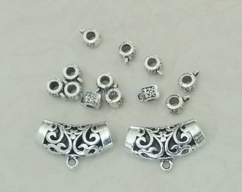 14 Mixed Tube Bails: 31 mm & 6 mm bails, 2 Large 31mm Pierced Scroll bails, 12 6mm antiqued silver color supplies, arched curved filligree