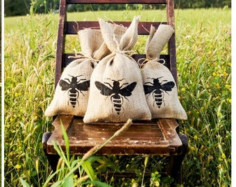 set of four QUEEN BEE Burlap Gift Bag Set