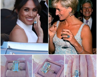 Princess Diana Aquamarine Ring, Princess Meghan Markle Aquamarine Ring, 14 kt White & Yellow Gold with White Sapphires, Cocktail Ring