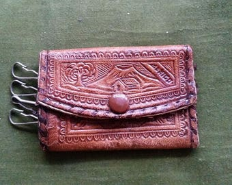 Small vintage hand tooled Mexican leather key purse/holder made in Mexico