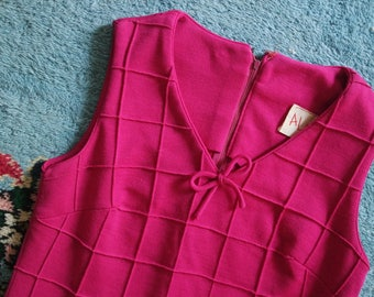 Vintage 1960s Hot Pink Knit Dress - Quilted Textured Party Dress