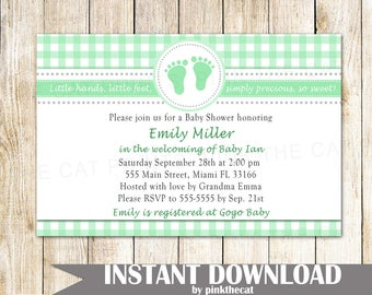 Footprint invitation etsy on sale footprint invitation lime green baby shower invitation unisex baby shower invitation printable invitation editable instant download filmwisefo