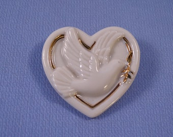 Lenox Porcelain Heart and Dove Brooch/Pin