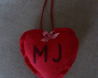 Small romantic heart with initials