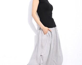 Modern Linen Skirt - Gray Handmade Designer Contemporary Everyday Casual Woman's Skirt with Drawstring Waist Plus Size (C326)