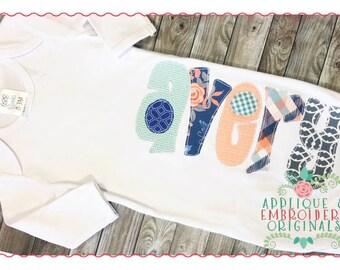 Applique and Embroidery Originals Digital Design - 210 Modish Vintage Applique Font Design for embroidery machine