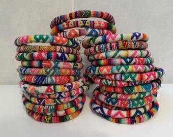Wholesale Lot 50 Peruvian vintage fabric textile Bracelets Handmade Peru