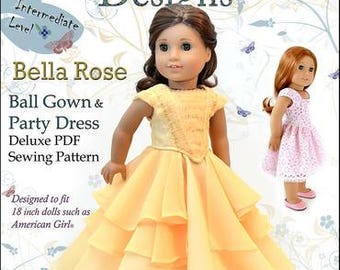 Pixie Faire Dollhouse Designs Bella Rose Ball Gown & Party Dress Doll Clothes Pattern for 18 inch American Girl Dolls - PDF
