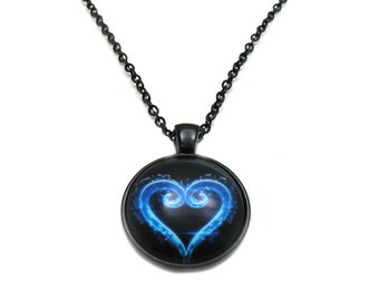 Blue Heart Necklace, Picture Necklace, Blue Heart Charm, Love Necklace, Heart Jewelry, I Love You Necklace, Heart Pendant, Heart Cabochon