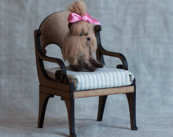 Needle felted sitting, brown, wool, Waldorf dog - puppy - decoration - toy - gift