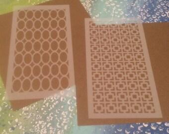 2 small stencils - retro patterns