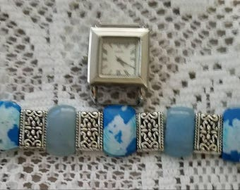 Beautiful Blue Interchangeable Watch Band And White  Watch Face