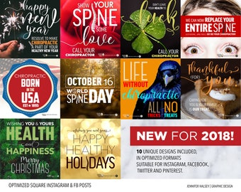 Chiropractic Holiday Social Media Bundle | DIY Instagram, Facebook, Pinterest, Twitter, Blog Posts