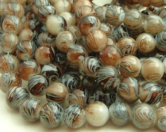 Brown and Black Round Glass Beads - 8mm Mottled Bohemian Beads - 25pcs - BN28