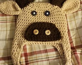 Crocheted moose hat