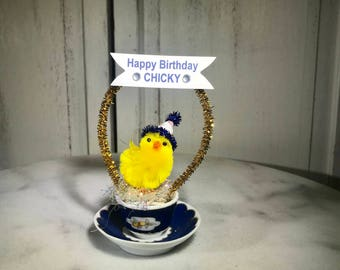 Happy Birthday, happy birthday chick,cake topper,Pleasant Company mini cup and saucer, chenille chick, coworker,friend,roomate birthday,dorm
