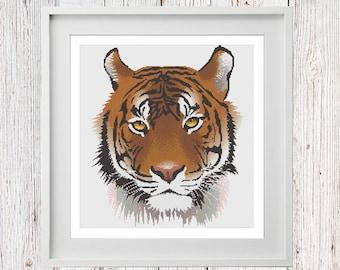 Tiger Head Cross Stitch Chart PDF Digital Instant Download
