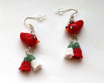 Beadwoven Floral Earrings with red bird, Glass Lampwork Cute Red Cardinal, Glass Cardinal - Red & White Flower Earrings by enchantedbeads