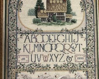 SUMMERSALE Teresa Wentzler, Vintage, 1990, English Cottage Sampler , Just Cross Stitch, Item # 102, Counted Cross Stitch, Pattern