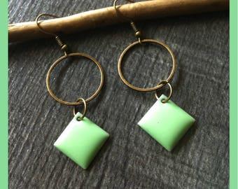 earrings, light green and bronze
