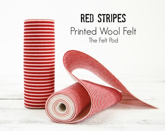 Red Stripes Printed Wool Felt Roll // Red Stripes  Wool Felt // Red Stripes Printed Felt