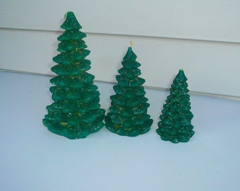 Gurley Christmas Tree Glitter Candles Set of Three Gurley Candles  by VintageReinvented