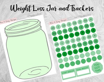 Green Weight Loss Jar Sticker with Trackers // Weight Loss Stickers | Weight Loss Jar | Diet Sticker Kit | Health Fitness Planner Stickers