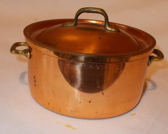 Vintage Copper Cookware Tagus R 9 Made In Portugal Covered Copper Sauce Pot Gravy Server Small Covered Copper Casserole