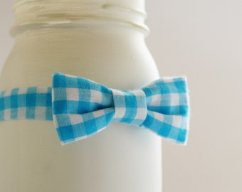 Turquoise blue baby bow tie, gingham blue infant bow tie, blue baby bowtie, infant boy bow tie - made to order