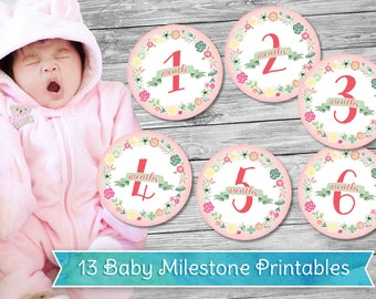 Monthly Baby Milestone Printables - Sweet Floral - PNG - Cricut