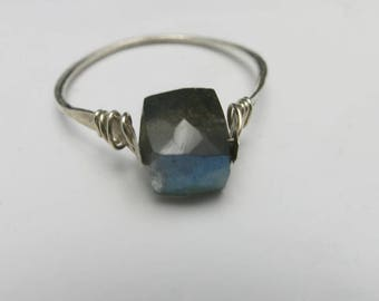 Labradorite ring Sterling silver band Hand made