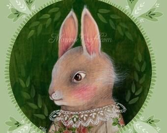 "MarmeeCraft art print, ""Green Summer Rabbit, Grey"""