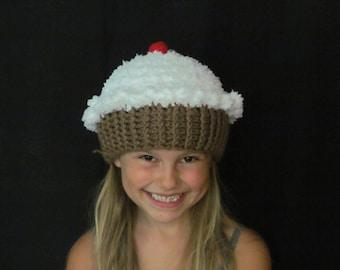 Crochet Cupcake Hat ~ Size Medium ~ White top and medium brown bottom
