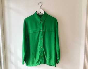 80s green button up blouse M/L / vintage kelly green long sleeve button down cotton top shirt
