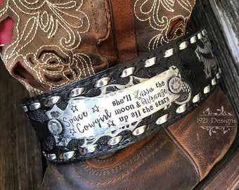 Space Cowgirl - hand stamped - boot bracelet