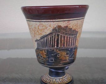 For Sale Pythagoras Fair Cup - Tantalus - Cup Of Justice-Acropolis Parthenon Hand Painted