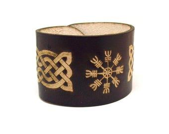 Aegishjalmur Handmade Top Selling Leather Bracelet - FREE Shipping Worldwide - Viking Helm Of Awe, Viking Leather Bracelet, Nordic Talisman