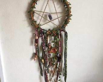 Handmade Pentacle Dreamcatcher: Crystal and Handmade Bead
