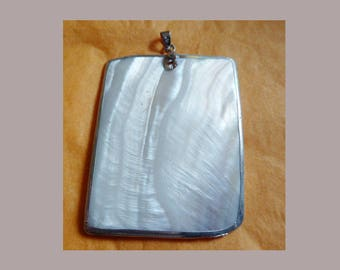 Large pendant mother of Pearl Rectangle topped with a bail