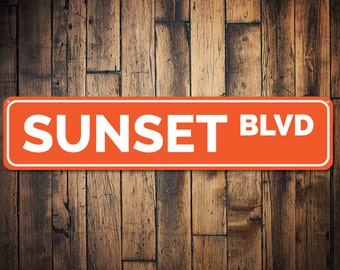 Sunset Blvd Sign, Custom Beach Street Sign, Ocean Lover Gift, Beach House Decor, Metal Sea Home Decoration - Quality Aluminum ENS1002185