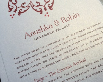 Downloadable Hindu Wedding Program