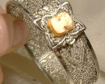 Art Deco Cameo Filigree Bangle Bracelet 1930s Rhodium Plated
