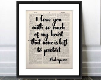 Shakespeare Quote PRINT,Shakesepeare Gift, Shakespeare Art, Shakespeare Decor, Home Decor, Wall Art, Old Book Page, Quote,Print,Gift for Her
