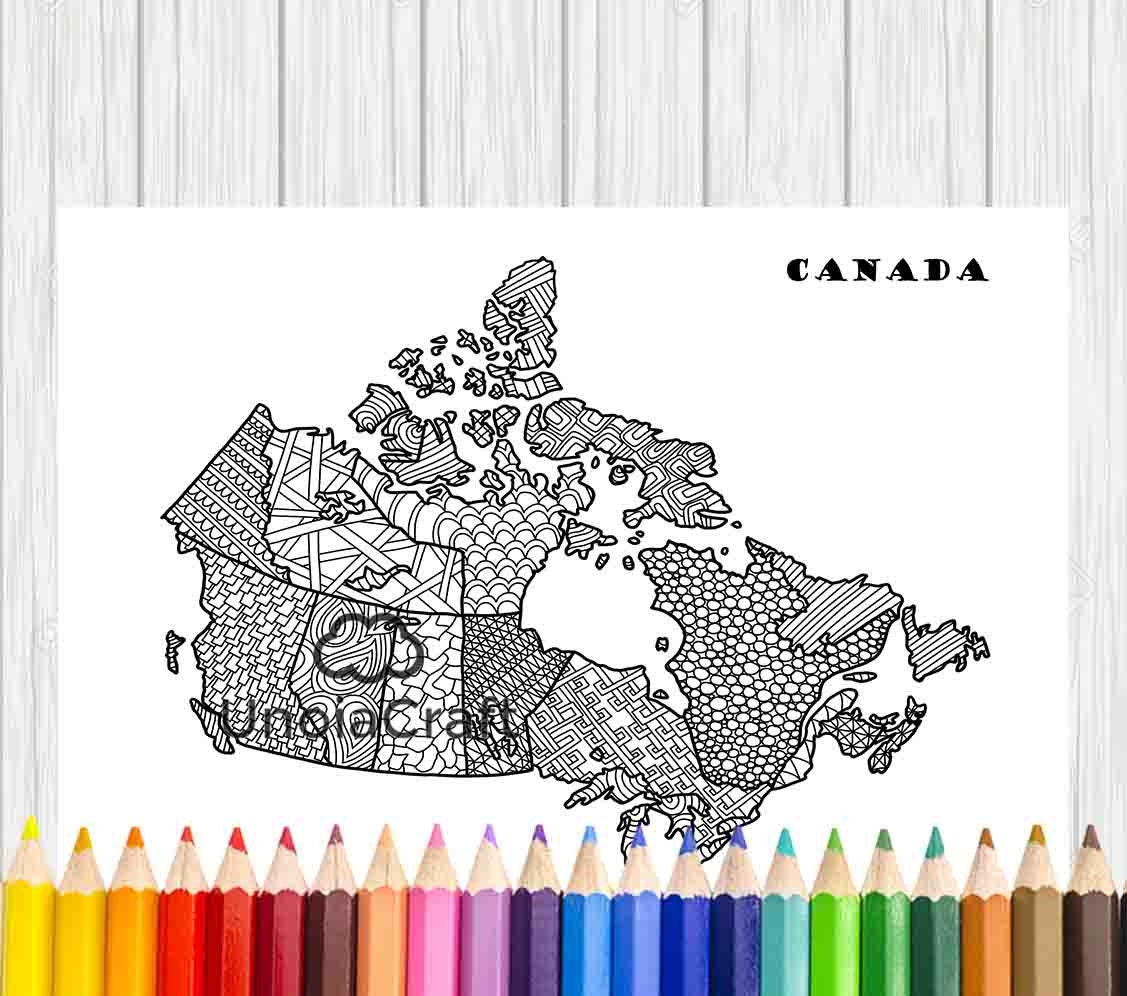 canada map coloring zentangle canada north america coloring il fullxfull canada map coloring zentangle canada