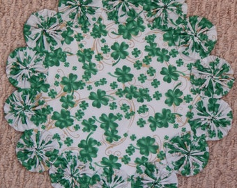 """St. Patrick's Day Clover Yo Yo Doily - 12"""""""