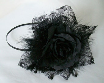 Black Rose Fascinator -Vintage Style Artificial Flower Lace Feather & Crystal Gothic Wedding Bridal Headband Headpiece - Ready Made