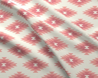 Boho Fabric - Navajo - Cream, Coral, Pink By Bohemiangypsyjane - Southwestern Geometric Cotton Fabric By The Yard With Spoonflower