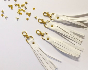 Shimmery white tassels for handbags, keychains and more