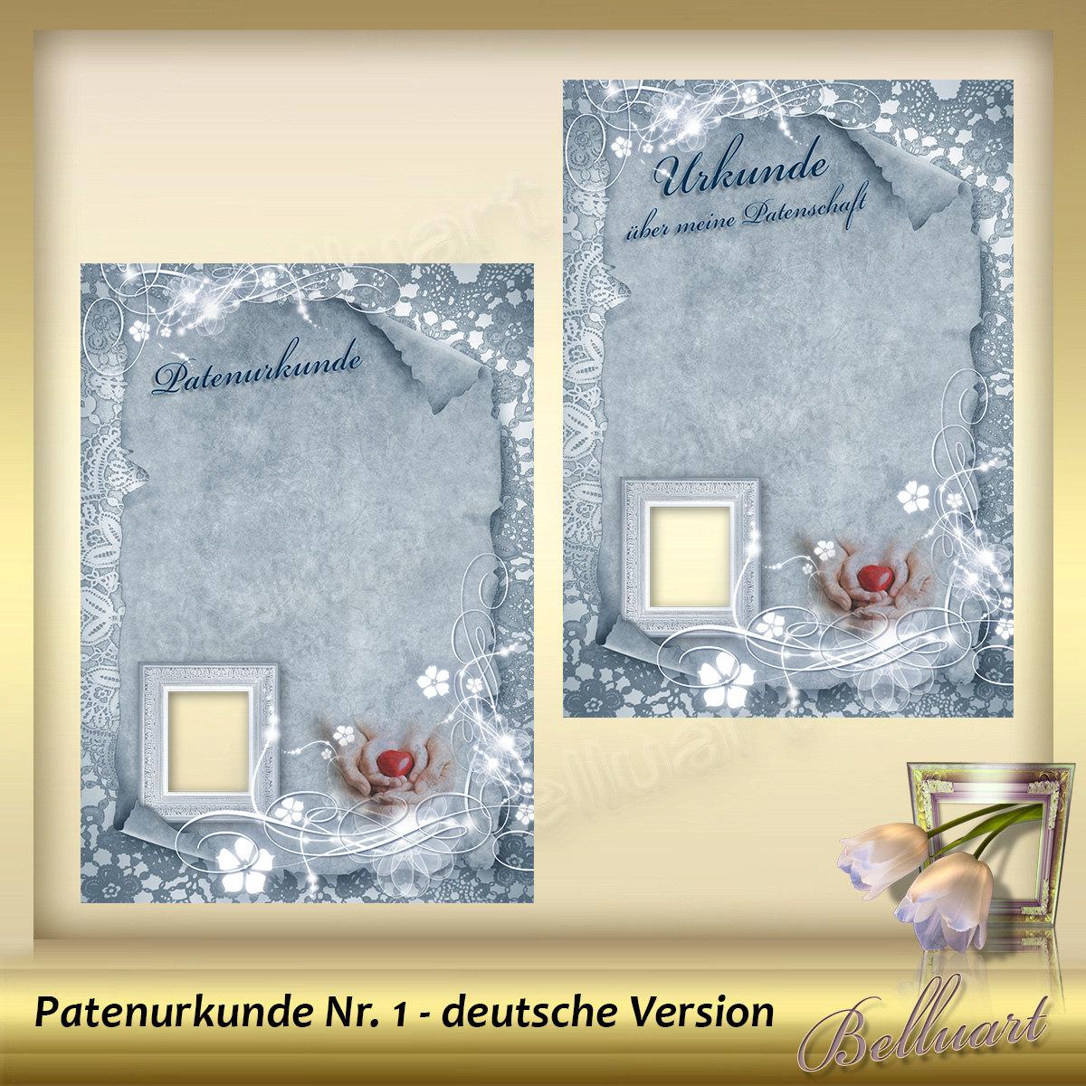Vorlage für Patenurkunde - Patenbrief- für Patentante - DIN A4 ...